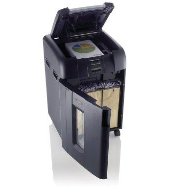 Rexel Auto+ 500M Micro Cut Shredder front quarter door open