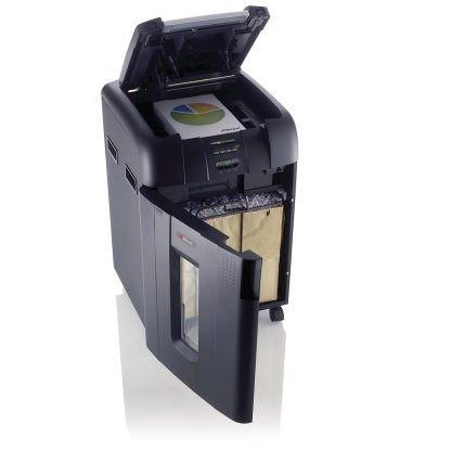 Rexel Auto+ 500M Micro Cut Shredder front quarter door open