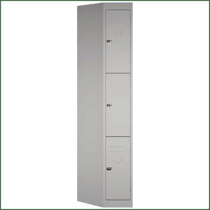 SteelCo Locker 3 Door, 305mm W Silver Grey Closed