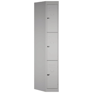 SteelCo Locker 3 Door, 305mm W Silver Grey Closed