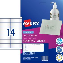 Avery 959051 14UP A4 Crystal Clear addressing labels