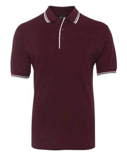 Contrast Polo - Maroon/White