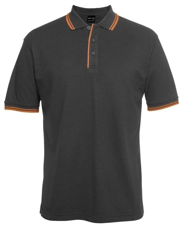 Contrast Polo - Gunmetal Orange