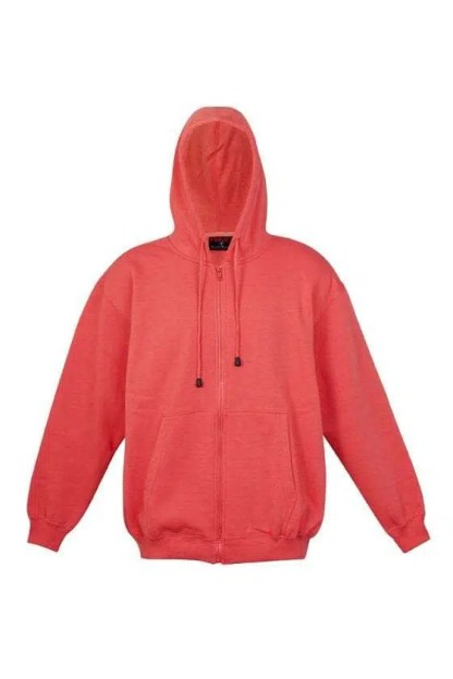 Kangaroo Pocket Hoody Full Zip Coral_Red