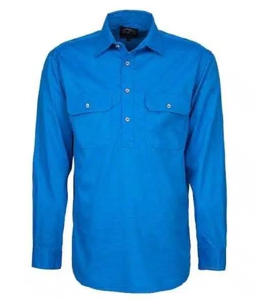 Pilbara Half Button Shirt - Long - Light Blue