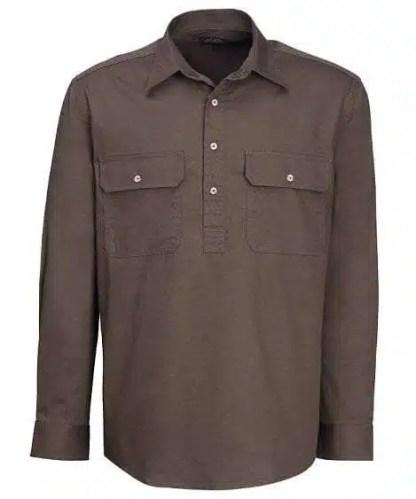 Pilbara Half Button Shirt - Long - Olive