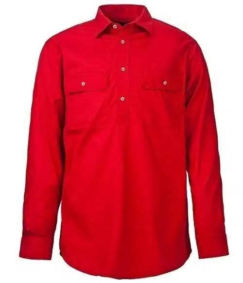 Pilbara Half Button Shirt - Long - Red
