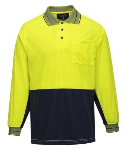 Hi Vis Polo Shirt Long Sleeve Yellow Navy