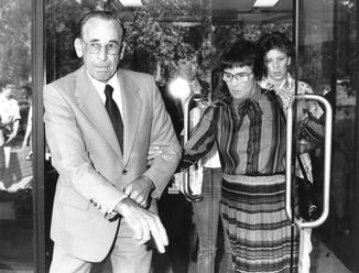 Garry and Grace Lynch, the parents of Anita Cobby, leave Westmead Coroner's Court, March 1986.