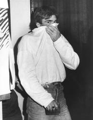 Michael Patrick Murphy, 33, charged as for his brother Gary Murphy for escaping lawful custody, at Blacktown police station. Murphy was later convicted and sentenced to life imprisonment for the murder of Anita Cobby, 27 February 1986.