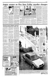 Newspaper page, 'Angry scenes as five face Cobby murder charges, page 6