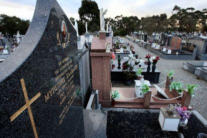 Fawkner Cemetery - Graves of Mersina Halvagis's grandmother and Peter Dupas's grandfather at Fawkner Cemetery.