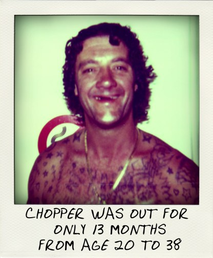 Mark Chopper Read spent just 13 months outside prison between the ages of 20 and 38.-aussiecriminals