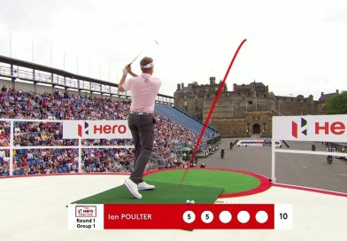A moat becomes a hazard for golf at Edinburgh Castle: video