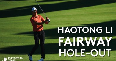 Watch Haotong Li use bank for remarkable hole-out for eagle