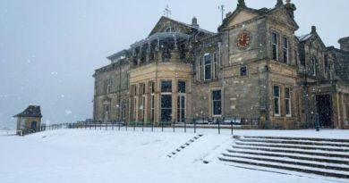 Tee times on hold as St Andrews Old Course is covered in snow