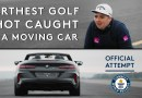 RECORD BREAKER Golfer tries to hit golf ball into a moving car