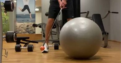 Golfer cops a stick in the head while training in the gym