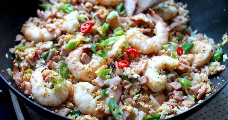 Keto Fried Rice with Bacon & Prawns