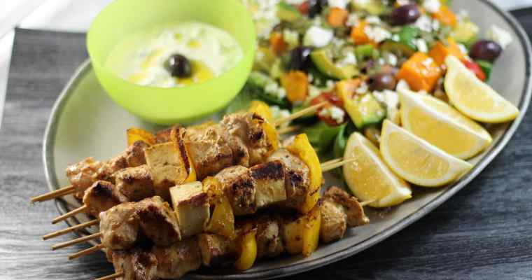 Greek Keto Chicken Kebabs with Halloumi, Capsicum and Tzatziki
