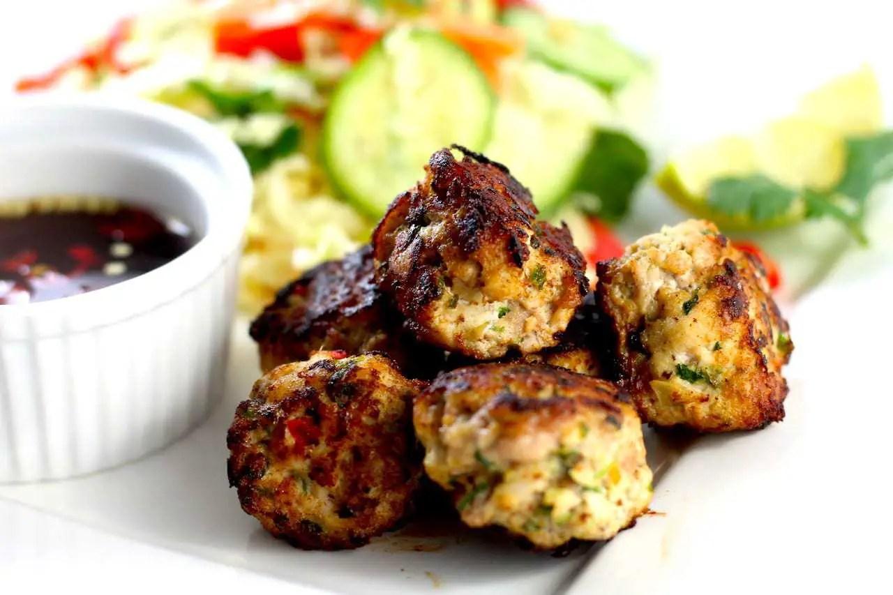Keto Vietnamese Chicken Meatballs & Salad