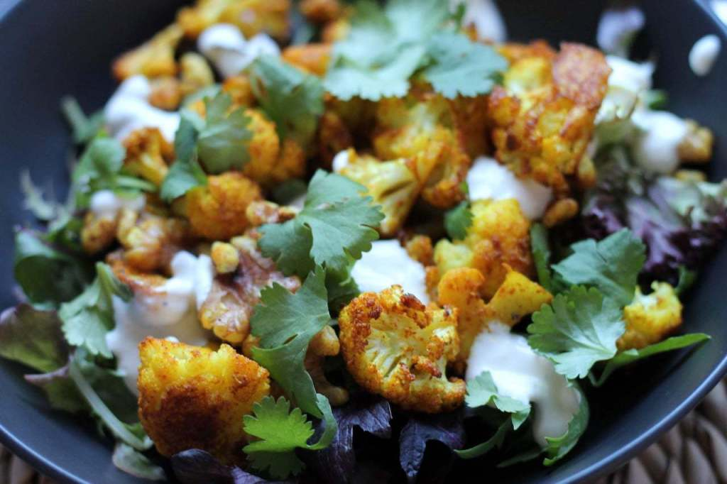 Keto Cauliflower Salad with Turmeric and walnuts