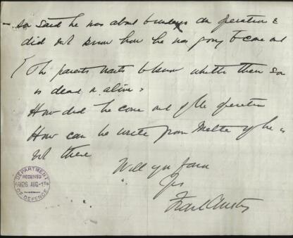 Original hand written letter Hon. Frank Anstey