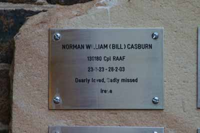 NORMAN WILLIAM (BILL) CASBURN / 130180 Cpl RAAF / 23-8-23 - 28-2-03 / Dearly loved, Sadly missed / Irene