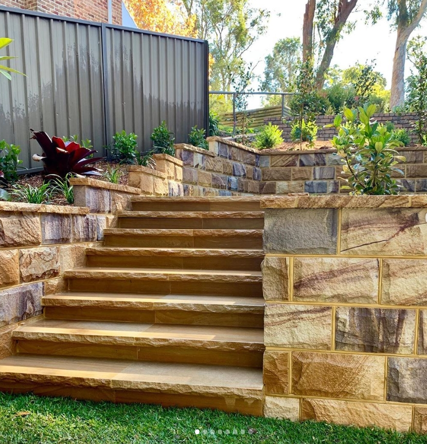 Ranch split blocks and capping stone use as garden walling and stairs