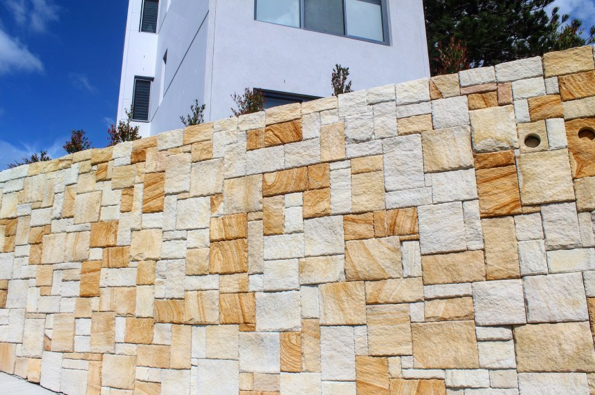 A residential building project using Aussietecture colonial sandstone wall cladding