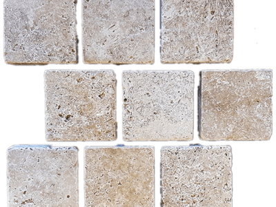 Classic Travertine Tumbled Cobblestone Paver - Natural Stone cobbles