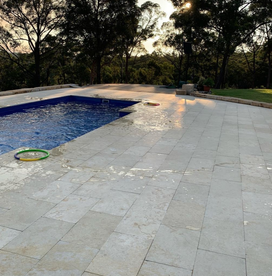 Gundy marble pavers in a swimming pool area
