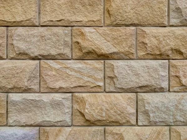 Rockface sandstone walling