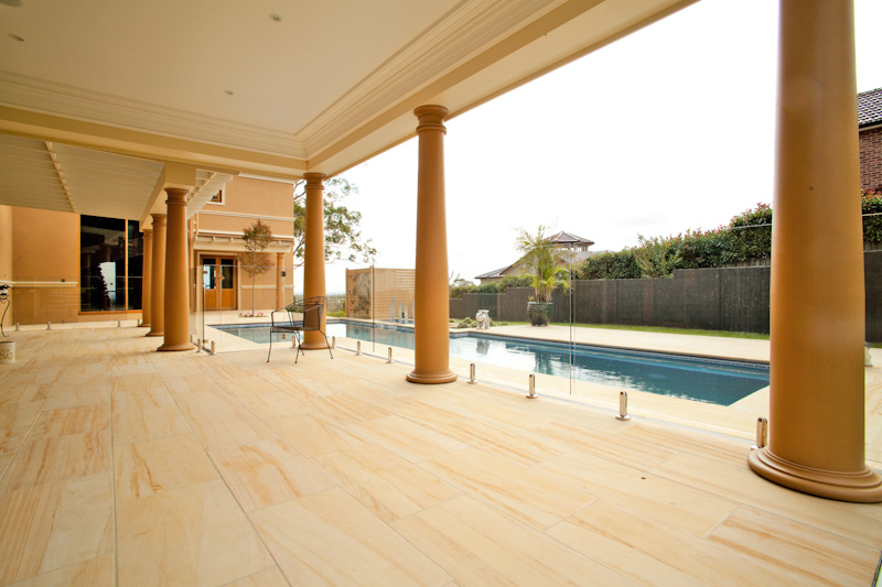 Honed sandstone flooring