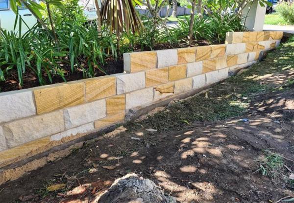 Split blocks used as garden edging