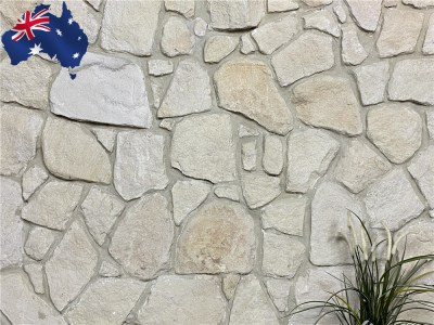 White irregular Australian sandstone cladding