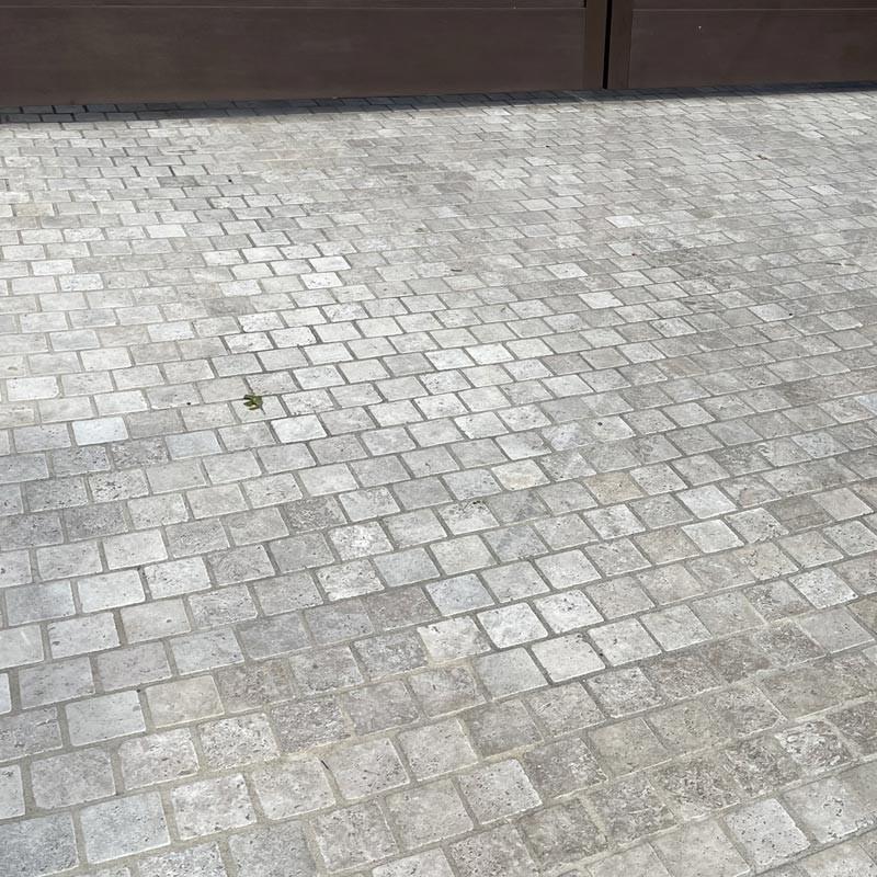 Silverton travertine cobbles used in drive way flooring