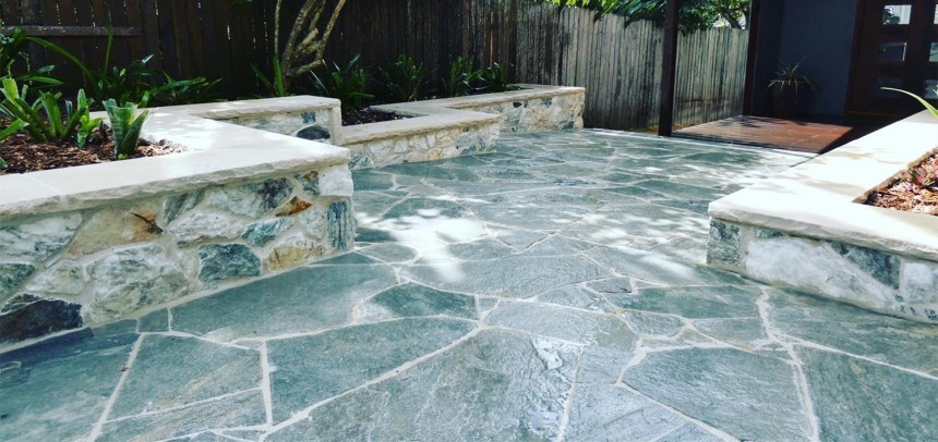 Landscaping project using Lavertin wall cladding, kimba stone crazy paving and capping stone