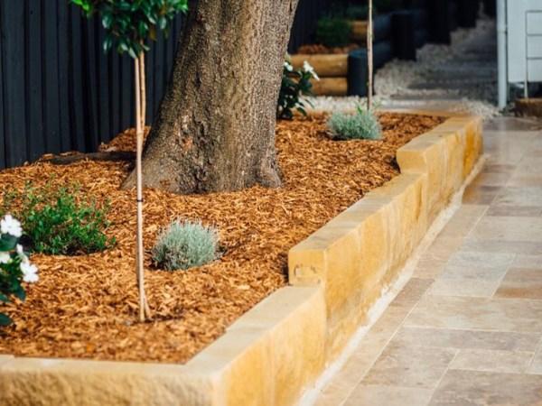sandstone split blocks as garden edging