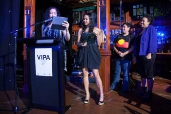 Rachael Maza announcing an award at VIPA 2012