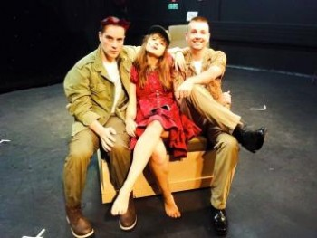 Luigi Lucente, Hilary Cole, and Toby Francis in rehearsal for Dogfight.