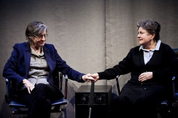 Sandra Bates and Lorraine Bayly in The Shoe-Horn Sonata, photo by Katy Green Loughrey.