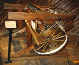 A Spinning Jenny, spinning machine which initiated the Industrial Revolution, model at the Museum of Early Industrialisation in Wuppertal (Germany). Photographer: Markus Schweiß