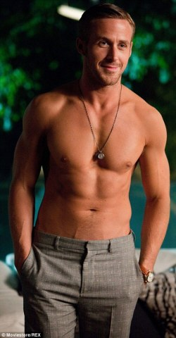 Ryan Gosling showing off his fit abs...