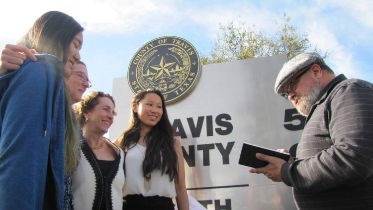 Sarah Goodfriend and Suzanne Bryant become the first same sex couple to marry in Texas. Photo: Texas Democratic Party.