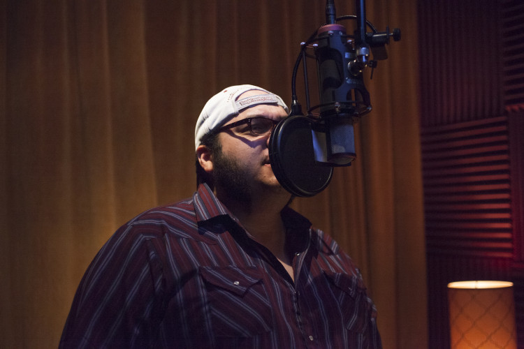 A.J. Guel laying down vocals at 512 Studios. Photo: Keith Trochta