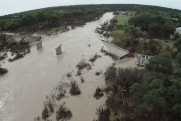 A destroyed bridge near Wimberley.