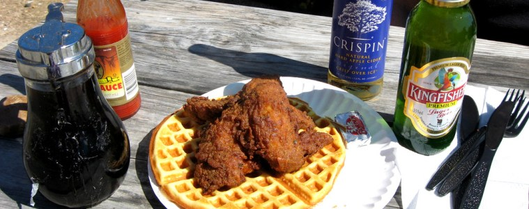 Featured photo: A meal at Lucky J's Chicken and Waffles, by Flickr user Tracy Hunter, creative commons licensed.