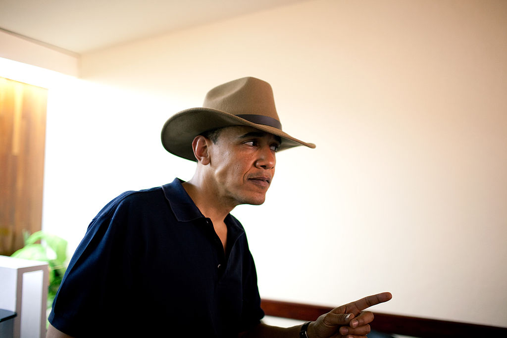 obama cowboy hat texas austin april fools day joke prank moving