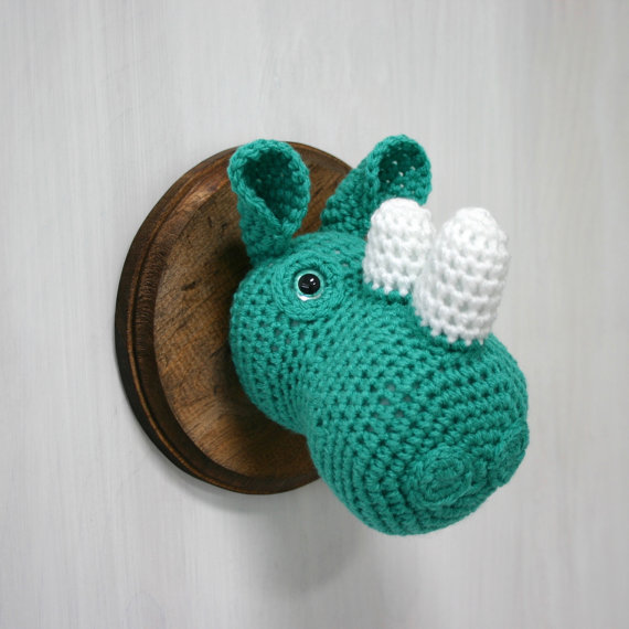 Photo: Crochet Taxidermy Rhino Head ($75) from Nothing but a Pigeon
